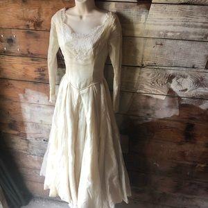 1960's Handmade Cream Ballgown Vintage Wedding
